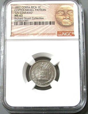 1892 Costa Rica Centavo Coppernickel Pattern Ngc Mint State 63 Stuart Collection