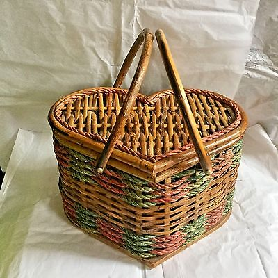 Vintage Large Heart Shaped Pink Green Braid Accent Woven Wicker Picnic Basket