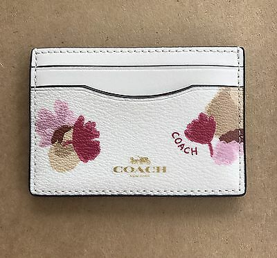 New Coach Field Floral PVC Card Case Credit Card Holder Mini Wallet 86925