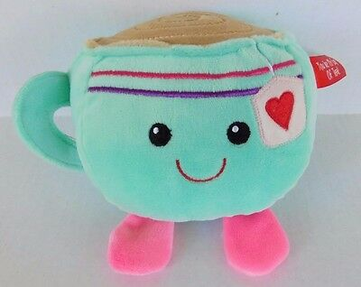 Dan Dee You're My Cup of Tea! Plush Teacup 7 inch Stuffed Smiling Face Mint Pink