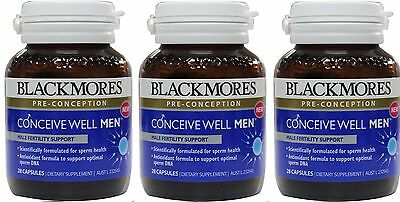 3 x Blackmores Conceive Well Men 28 Capsules 100% Brand New