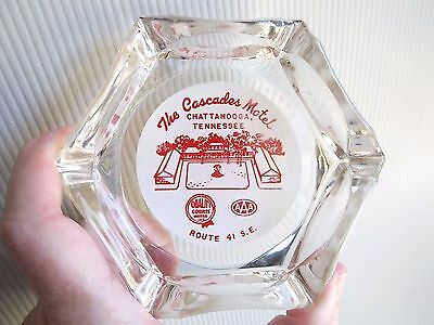 Vintage Cascades Motel Chattanooga Tennessee Glass Ashtray TN