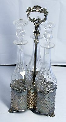 Antique Victorian Silver Plate Caddy with 3 Liquor Cut Glass Bottles
