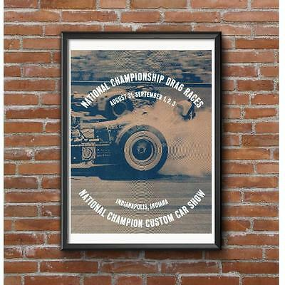 NHRA Nationals 1962 Event Poster - Drag Races & Custom Car Show Indianapolis