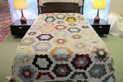 QUEEN Vintage All Cotton Hand Sewn FLOWER GARDEN Quilt TOP w/ Lots of Bad Seams!