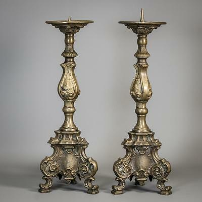 """Magnificent 16"""" Pair French Antique Bronze Candlesticks Candle Holders 2"""