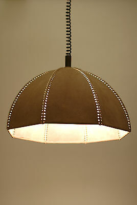 Vtg Retro MCM 60s/70s Danish MOD Leather RETRACTABLE Ceiling LIGHT Lamp LAMPEN !