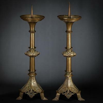 """Magnificent 22"""" Pair French Antique Bronze Candlesticks Candle Holders 2"""