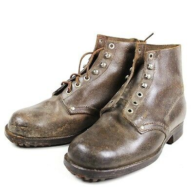 French Army M1945 Leather Ankle Boots - Hobnailed Soles Combat Shoes Indochina