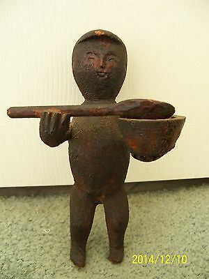 Antique Americana Primitive FOLK ART CARVING of MAN with Large Spoon & Bowl