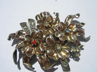 Great Art Deco  1930/40 Silver, 18 K Gold Plated Brooch