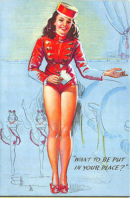 "Artist K Munson Original Pin Up ""Want To Be Put In Your Place?"" Blotter"