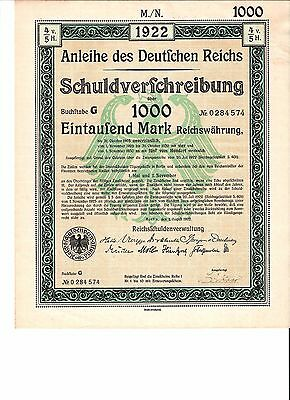 Anleihe des Deutfchen Reichs 1922 German 1,000 marks bond certificate + coupons
