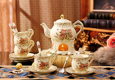 TSP25 Decorative Wedding Gifts Bone China Coffee/Tea Teapot Cups Set 14 Pcs