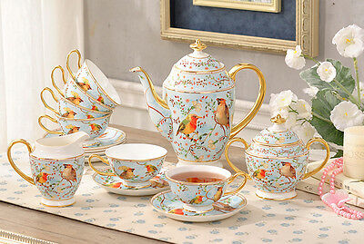 TSP29 Decorative Wedding Gifts Fine Bone China Coffee/Tea Teapot Cups Set 15 Pcs