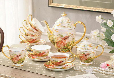 TSP31 Decorative Wedding Gifts Fine Bone China Coffee/Tea Teapot Cups Set 15 Pcs