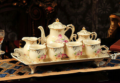 TSP43 Decorative Wedding Gifts Bone China Coffee/Tea Teapot Cup Saucer Set 8 Pcs