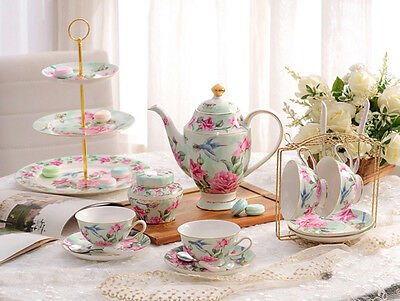 TSP45 Decorative Wedding Gifts Fine Bone China Coffee/Tea Teapot Cups Set 15 Pcs