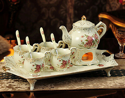 TSP49 Decorative Wedding Gifts Bone China Coffee/Tea Teapot Cups Set 11 Pcs
