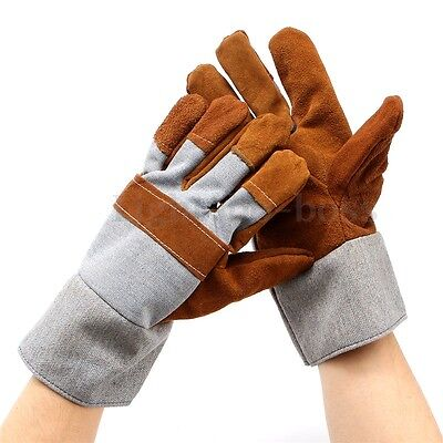 Durable Welding WELDERS Work Soft Cowhide Leather Plus Gloves Protecting Hand