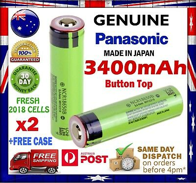 2x Panasonic NCR 18650 B 3400mAh Li-Ion Rechargeable Battery GENUINE Button Top