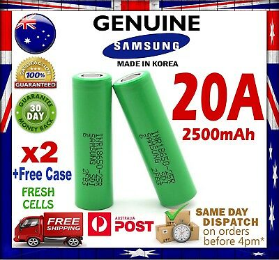 2x Samsung 18650 2500mAh 25R Lithium Rechargeable Battery VAPE - e-Cig 20A