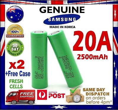 2x Samsung INR 18650 25R 2500mAh Li-Ion Rechargeable Battery High Current 20A