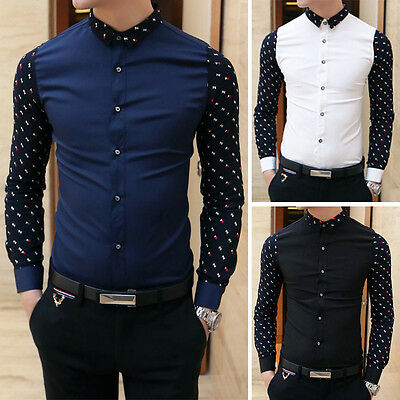 Fashion Mens Luxury Long Sleeve Casual Slim Fit Stylish Dress Shirt Button Tops