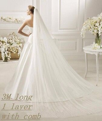 "1T Ivory Bridal Cathedral Length 108"" Cut Edge Wedding Veil"