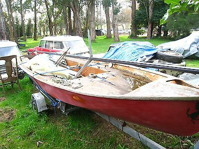 classic sail boat wooden hull 135 on trailer