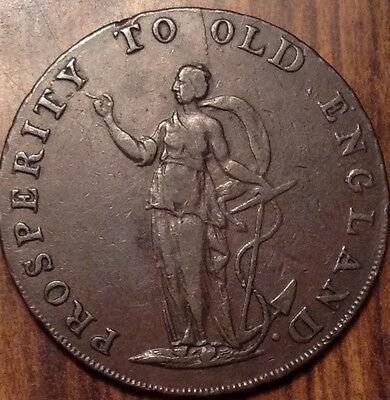 1791 Uk Gb Great Britain Half Penny Token Prosperity To Old England