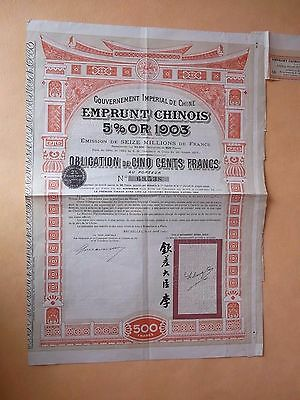 Gouvernement Chinois Emprunt 5% 1903