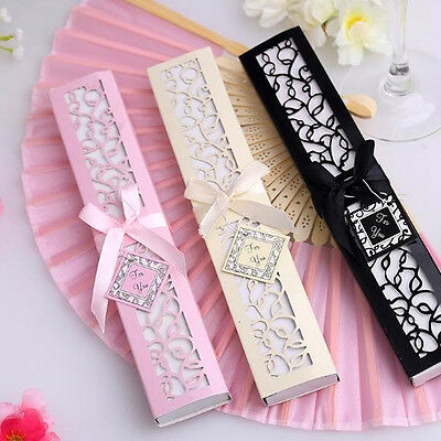 Exquisite Silk Fold Hand Fan w/ Elegant Laser-Cut Box Wedding Favors Party Gifts