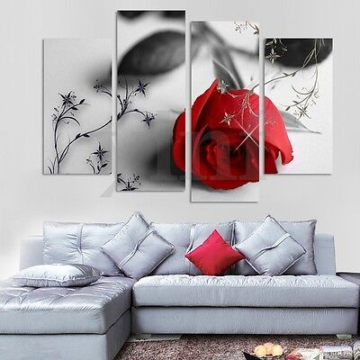 4pcs Rose Flower Canvas Painting Print Picture Home Wall Art Decoration Unframed
