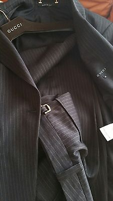 Tailleur Pantalone Gucci Donna Gessato Lana Made in Italy 46