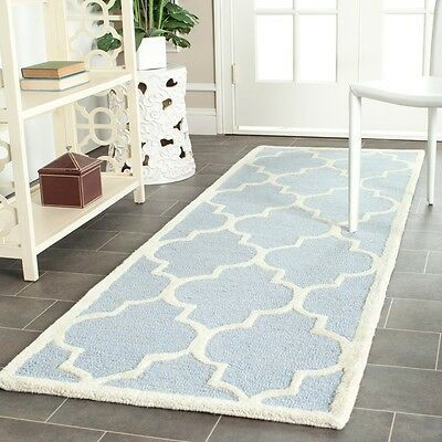 "Safavieh Traditional Handmade Cambridge Moroccan Light Blue Wool Rug (2'6"" x 12'"