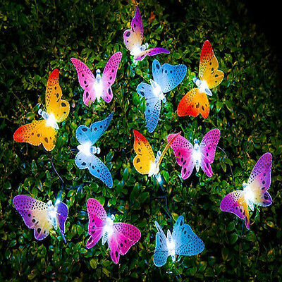 12 LED Solar Powered Colourful Butterfly Fairy String Light Garden Lights