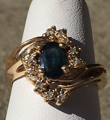 14K Yellow Gold Ladies Sapphire And Diamond Ring Size 4 1/2