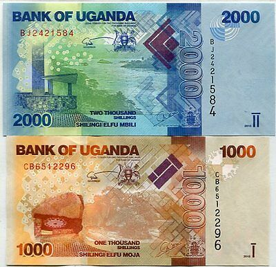 Uganda Set 2 Pcs 1000 2000 Shillings 2015 P 49 50 Unc