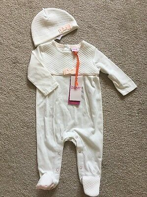 Bnwt Ted Baker Baby Girls Sleepsuit Hat Set All In One New Gift 3-6 Months