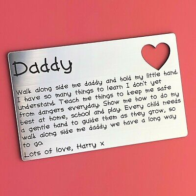 Personalised Father's Day Wallet Card Insert Dad Daddy Keepsake Gift Idea