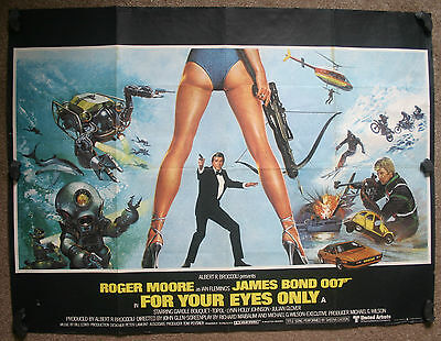 James Bond - For Your Eyes Only, Orig 1981 Quad Movie Film Poster, Roger Moore