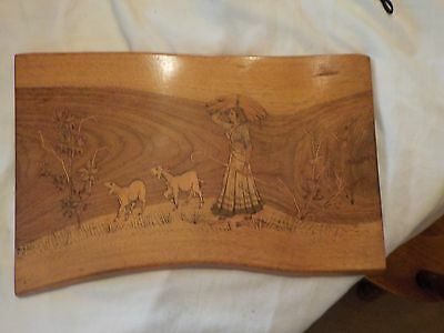 Vintage Hand Carved Wood Etched Wall Decoration
