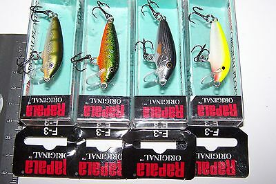 RAPALA FISHING LURES LOT OF 4,  F-3  Original Minnow  Trout, Bass, Perch, Bream.