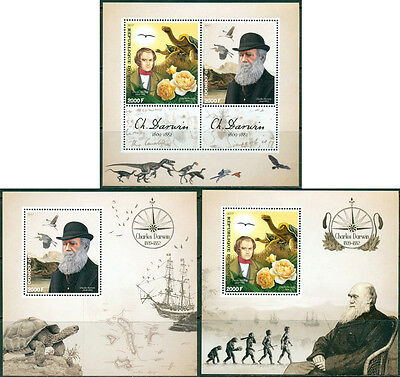 Charles Darwin Evolution Turtle Birds Dinosaurs Nature Congo MNH stamp set