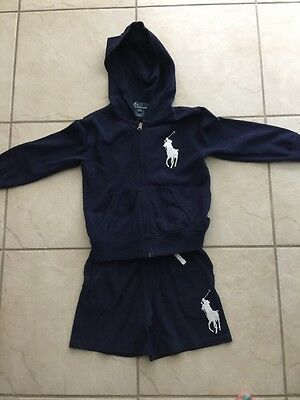 Polo Ralph Lauren Toddler Boy 2 Piece Hoodie And Shorts Size 4T