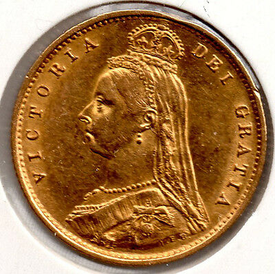 1887 Gold Shield Half Sovereign.EXTREMELY HIGH GRADE Victoria Jubilee Head
