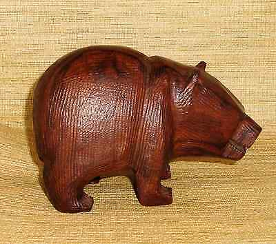 Brown Ironwood Carved Grizzly Bear Figurine  4.5 x 5.5