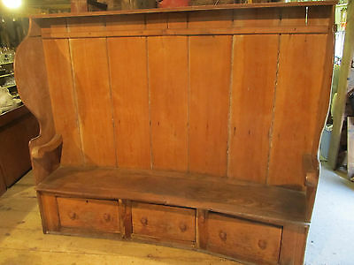 18th Century pine and elm high curved back 7 foot settle bench with 3 drawers