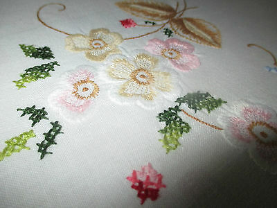 Pretty Vintage Embroidered Cotton Tablecloth